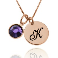 Personalized Rose Gold Necklace With Initial Charm And Birthstone