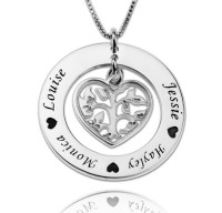 Family Name Style Necklace With Heart For Mothers