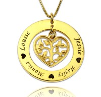 Gold Plated Family Tree Necklace With Heart For Mothers