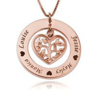 Family Tree Necklace With Heart For Mothers In Rose Gold Plated