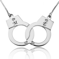 Personalized Handcuff Necklace in Silver