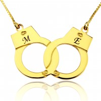 18K Gold Personalized Handcuff Necklace