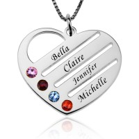 Engraved Family Name Heart Necklace with Birthstones in Sterling Silver