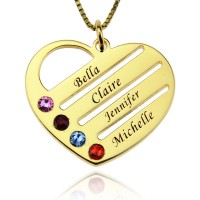 Gold Engraved Family Name Heart Necklace with Birthstones