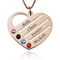 Rose Gold Engraved Family Name Heart Necklace with Birthstones