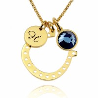 Personalized Gold Horseshoe Necklace With Initial Birthstone