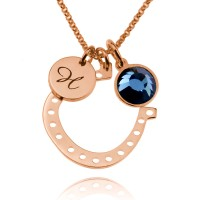 Personalized Rose Gold Horseshoe Necklace With Initial Birthstone