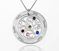 Circle Family Tree Necklace With Birthstone in Sterling Silver