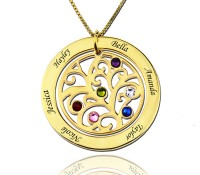 Gold Circle Engraved Family Tree Necklace with Birthstones