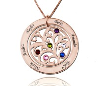 Rose Gold Circle Engraved Family Tree Necklace with Birthstones