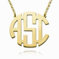 Gold Plated Circle Block Monogram Necklace