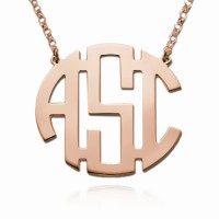 Rose Gold Block Monogram Necklace