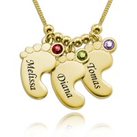 Baby Feet Necklace with Birthstones in 18K Gold Plating for Mother's Gifts