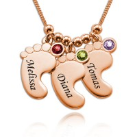 Baby Feet Necklace with Birthstones in 18K Rose Gold Plating for Mother's Gifts