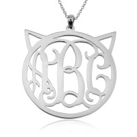Sterling Silver Personalized Circle Cat Monogram Necklace