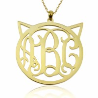 18K Gold Personalized Cat Monogram Necklace