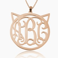 Personalized Cat Monogram Necklace In Rose Gold