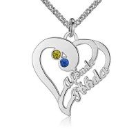 Personalized Heart Necklace with Name and Birthstone in Sterling Silver