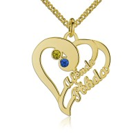 Personalized Heart Necklace with Name and Birthstone in Gold Plated