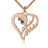 Personalized Heart Necklace with Name and Birthstone in Rose Gold Plated