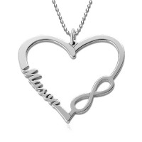 Personalized Heart Necklace with Name and Infinity Symbol in Sterling Silver