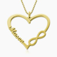 Personalized Heart Necklace with Name and Infinity Symbol in Gold Plated