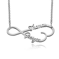 Personalized  Infinity Necklace With Two Names in Sterling Silver