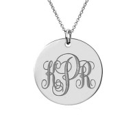 Sterling Silver Engraved Monogram Disc Necklace