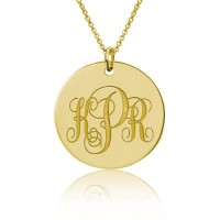 18K Gold Initial Monogram Disc Necklace
