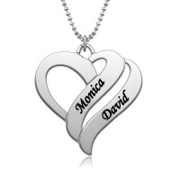 Two Hearts Forever One Necklace with Name For Mother in Sterling Silver