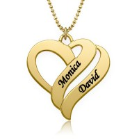 Two Hearts Forever One Necklace with Name For Mother in 18k Gold Plated