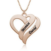 Two Hearts Forever One Necklace with Name For Mother in 18k Rose Gold Plated