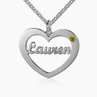 Sterling Silver Heart Name Necklace with Birthstone