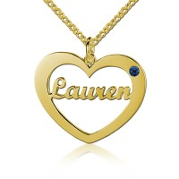 Gold Plated  Heart Name Necklace with Birthstone