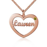 Rose Gold Plated  Heart Name Necklace with Birthstone