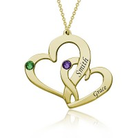 Interlocking Two Heart Necklace with Name and Birthstone in Gold Plated
