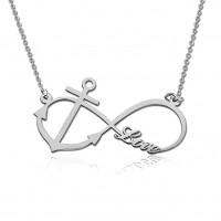 Silver Infinity Necklace With Anchor