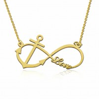 Gold Plated Infinity Necklace With Anchor