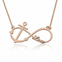 Rose Gold Plated Infinity Necklace With Anchor