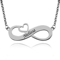 Personalized Infinity Name Necklace With Arrow Heart In Sterling silver