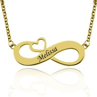Personalized Infinity Name Engraved Necklace With Arrow Heart In Gold Plated