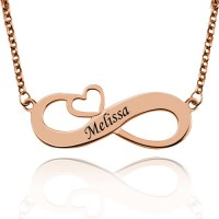 Personalized Infinity Name Engraved Necklace With Arrow Heart In Rose Gold Plated