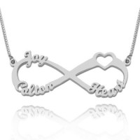 Sterling Silver Heart Infinity Necklace With 3 Names