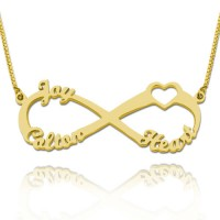 Gold Plated  Heart Infinity Necklace With 3 Names