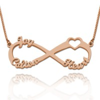Rose Gold Plated  Heart Infinity Necklace With 3 Names
