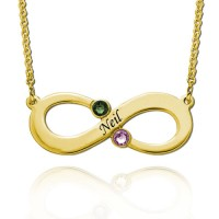 Customized Engraved Infinity Necklace With Two Birthstones in Gold Plated