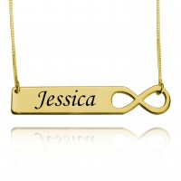 18K Gold Personalized Infinity Bar Necklace With Engraving