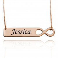Rose Gold Infinity Bar Necklace With Engraving