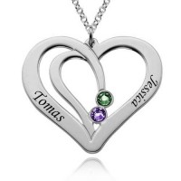 Personalized Two  Heart Necklace With Birthstone For Moms in Sterling silver