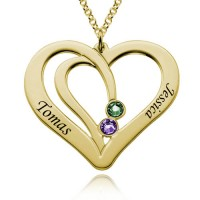 Personalized Two  Heart Necklace With Birthstone For Moms in Gold Plated